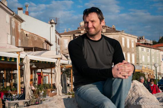 Me, Russ Osborne, sitting on the seaside in Croatia.
