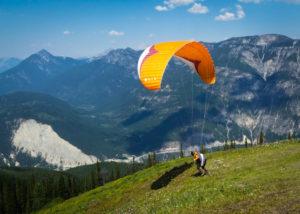 Russ Osborne paragliding at Mount 7, Golden, B.C., Canada