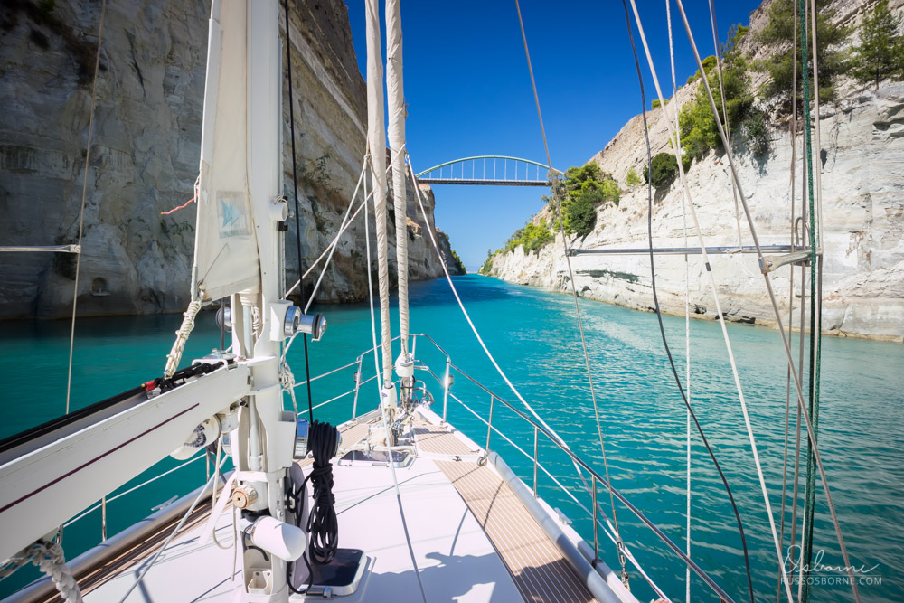 Transiting the Corinth Canal by sailboat.