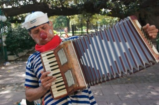 Clown playing the accordian