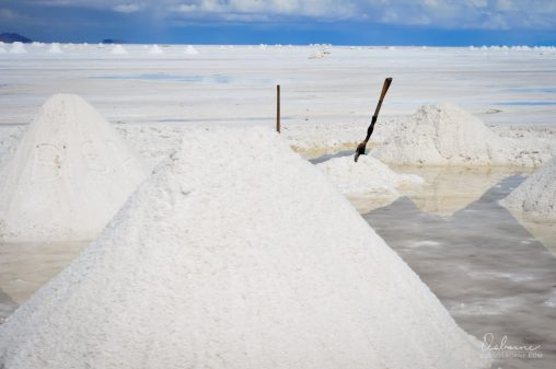 Piles of salt from the salt flats are prepared for sale