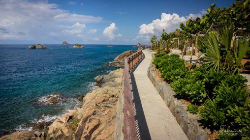 Walkway along the shoreline in Gustavia